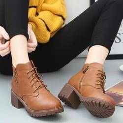 Giày boot nữ gót gỗ màu nâu