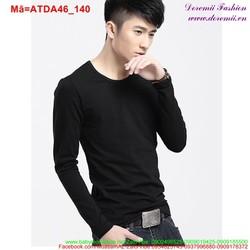 Áo thun nam tay dài cổ tròn màu đen sành điệu ATDA46