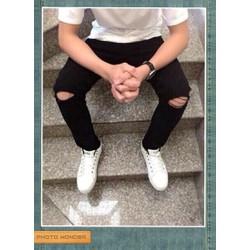 Quần jean dài rách gối