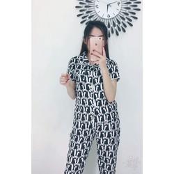 Bộ đồ ngủ nữ quần dài in họa tiết
