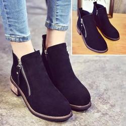 Giày combat boots nữ da lộn gót gỗ màu đen