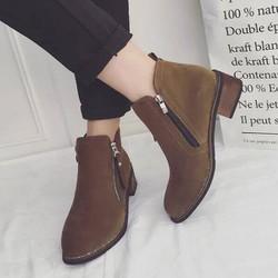 Giày combat boots nữ da lộn gót gỗ màu xám