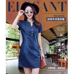 Đầm Jeans Cổ V 2 túi dày mịn y hình