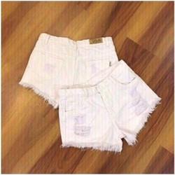 Quần short jean trắng
