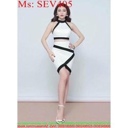 Sét áo kiểu cổ yếm và chân váy xẻ đáp chéo viền đen SEV405