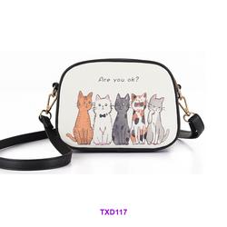 Túi đeo chéo in hình mèo siêu đáng yêu