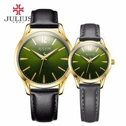 Đồng hồ cặp julius JU1207 Hàn Quốc Đen mặt xanh