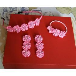 Set cài tóc hoa nhí màu hồng