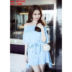 Sét áo kiểu bẹt vai ngang và chân váy thắt nơ xinh đẹp SEV428 View