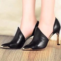 Giày cao gót nữ khoét eo mũi kim loại - LN1103