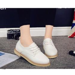 Giày oxford đế giả gỗ màu trắng