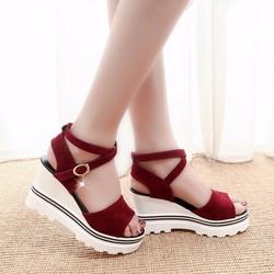 Giày sandal đế xuồng quai chéo hàng nhập - LN1110