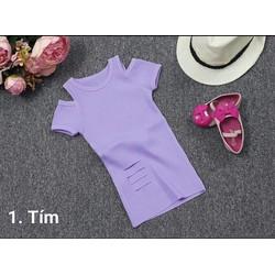 Đầm thun gân cách điệu cho bé diện mùa hè