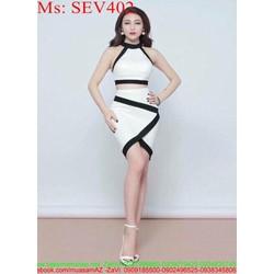 Sét áo kiểu yếm và chân váy bút chí phối viền sành điệu SEV402
