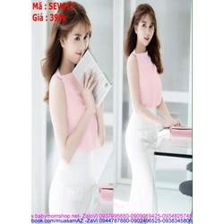 Sét áo sát nách hồng và chân váy bút trẻ trung SEV417