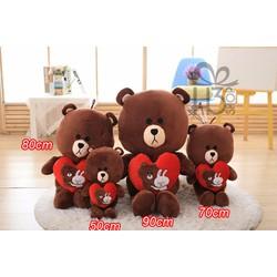 Thú bông gấu brown cầm tim 50cm