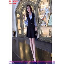 Sét áo sơ mi xanh và váy yếm thắt nơ xinh đẹp duyên dáng SEV431
