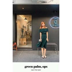 Đầm maxi xanh rêu