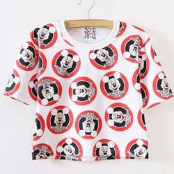 áo crop top nữ mickey Mã: AX3038 - TRẮNG