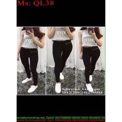 Quần legging nữ thun phối khóa kéo sành điệu QL38