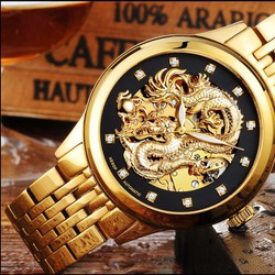 Đồng hồ nam chạy cơ, mặt rồng, chống nước, chống xước