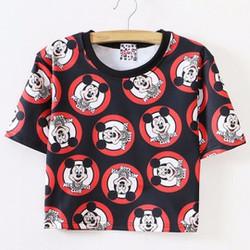 áo crop top nữ mickey Mã: AX3038 - ĐEN