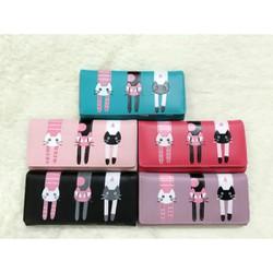 ví nữ dài 3 con mèo còn màu hồng đậm, hồng nhạt, xanh