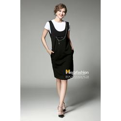 Váy yếm ba lỗ màu đen buộc dây xích nối khóa da đen - Megafashion
