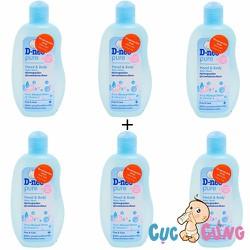 Combo 6 Sữa tắm gội toàn thân Dnee Baby Organic 200ml - Xanh dương