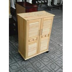 Tủ để giày dép có bánh xe - Tủ để giày gỗ thông 60 cm màu tự nhiên