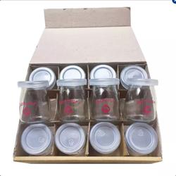 Bộ 12 cốc thủy tinh có nắp làm sữa chua trắng