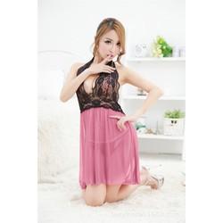 Váy ngủ yếm phối ren hở lưng quyến rũ kèm quần chip T  - VN45161