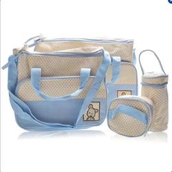 Bộ túi 5 chi tiết cho mẹ và bé xanh nhạt