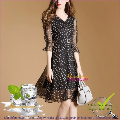 Váy đầm xòe cổ V tay lỡ GLV037