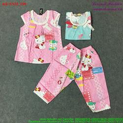 Set áo kitty tay con phối ren quần lửng dễ thương bSN22
