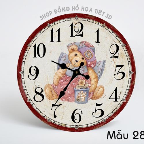 Đồng hồ treo tường họa tiết Gấu Girl