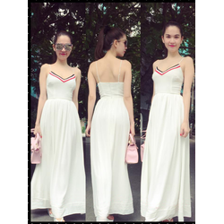 HÀNG THIẾT KẾ-Đầm Maxi 2 Dây Viền Màu Xinh Như Ngọc Trinh