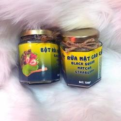 Mặt nạ dạng rửa đường đen, trà xanh và dâu tây 120gr