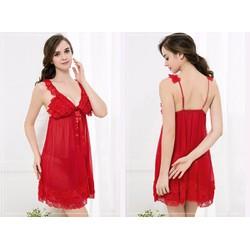 Đầm ngủ hai dây xuyên thấu màu đỏ