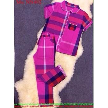 Đồ bộ mặc nhà áo ngắn tay và quần dài sọc caro màu xinh đẹp NN462