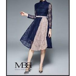 Đầm xoè ren tay dài phối dập li _MỎ CHU SHOP