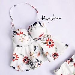 HipStore: Set bikini 2 mảnh áo bèo che bụng họa tiết hoa trắng điệu đầ
