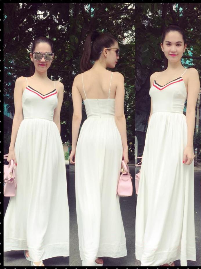 HÀNG THIẾT KẾ-Đầm Maxi 2 Dây Viền Màu Xinh Như Ngọc Trinh 3