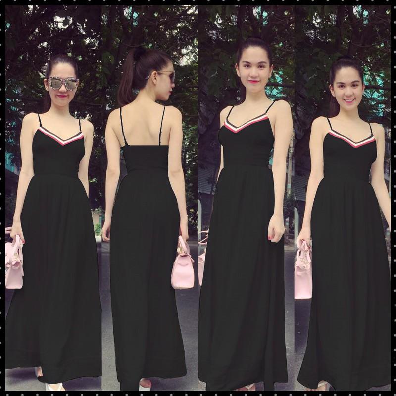 HÀNG THIẾT KẾ-Đầm Maxi 2 Dây Viền Màu Xinh Như Ngọc Trinh 4