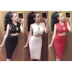 Set váy tay ren phối xích khoét ngực sexy