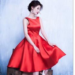 HÀNG THIẾT KẾ-Đầm Xòe Xếp Ly Lưng V Đẹp Như Diễm My