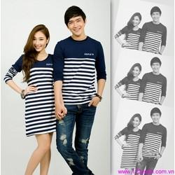 Set áo váy thun cặp đôi phối sọc phong cách zATD59 View 350,000