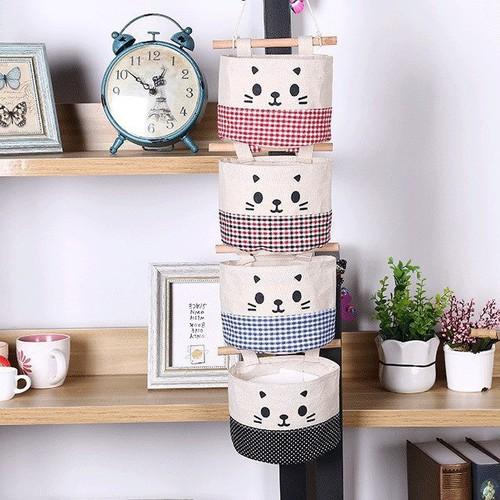 Worldmart bộ 3 túi treo tường vải bố hình mèo