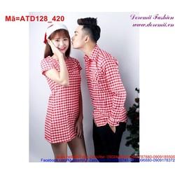 Váy áo cặp đôi sọc ca rô đỏ nhuyễn đáng yêu ATD128 View 420,000