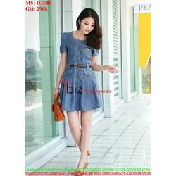 Đầm jean xòe kiểu dáng đẹp cho nàng công sở DJE80